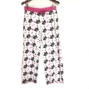 Hustler white pink black crown heart pajama pants